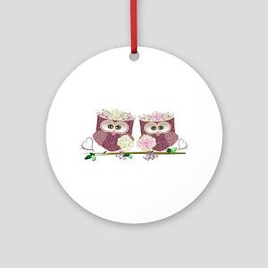 Two Brides Cute Wedding Owls Art Ornament (Round)