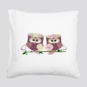 Two Brides Cute Wedding Owls Square Canvas Pillow