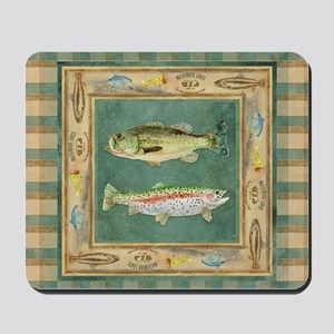 Fishing Cabin Lake Lodge Plaid Decor Mousepad