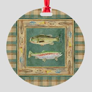 Fishing Cabin Lake Lodge Plaid Deco Round Ornament