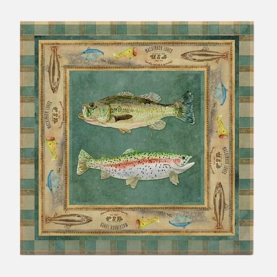 Fishing Cabin Lake Lodge Plaid Decor Tile Coaster