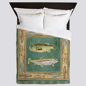 Fishing Cabin Lake Lodge Plaid Decor Queen Duvet