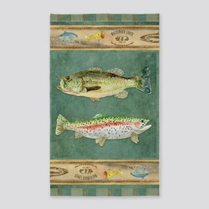Fishing Cabin Lake Lodge Plaid Decor Area Rug