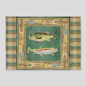 Fishing Cabin Lake Lodge Plaid Deco 5'x7'Area Rug