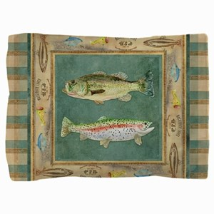 Fishing Cabin Lake Lodge Plaid Decor Pillow Sham