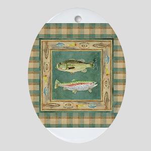 Fishing Cabin Lake Lodge Plaid Dec Ornament (Oval)