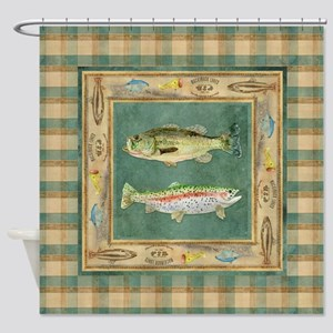 Fishing Cabin Lake Lodge Plaid Deco Shower Curtain