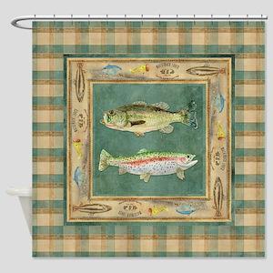 Fishing Cabin Lake Lodge Plaid Deco Shower Curtain