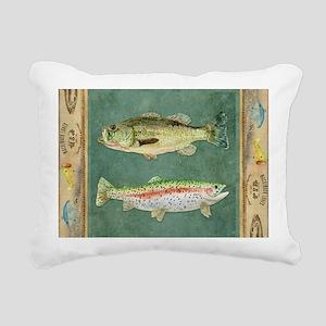 Fishing Cabin Lake Lodge Rectangular Canvas Pillow
