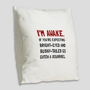 Go Catch Squirrel Burlap Throw Pillow