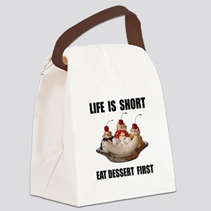 Life Short Dessert Canvas Lunch Bag