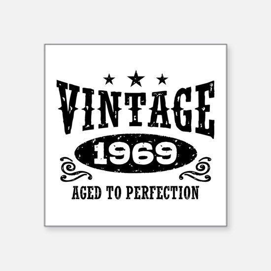 "Vintage 1969 Square Sticker 3"" x 3"""