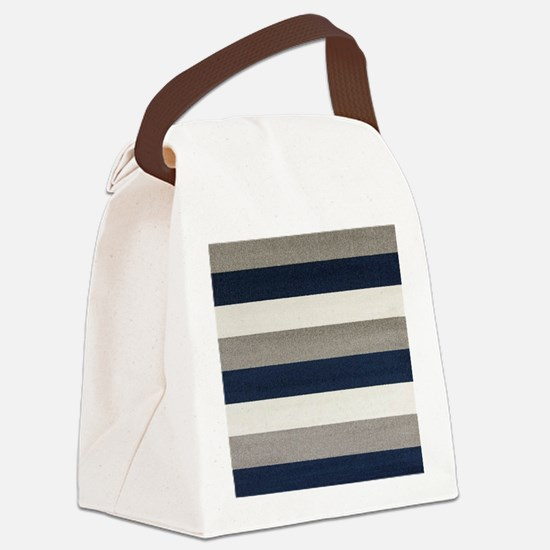 Fuzzy Stripes Canvas Lunch Bag