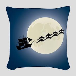 Santa Pirate Ship Woven Throw Pillow