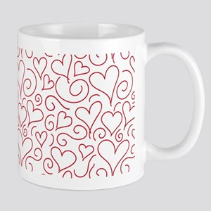 Hearts and Swirls Square Design Mugs