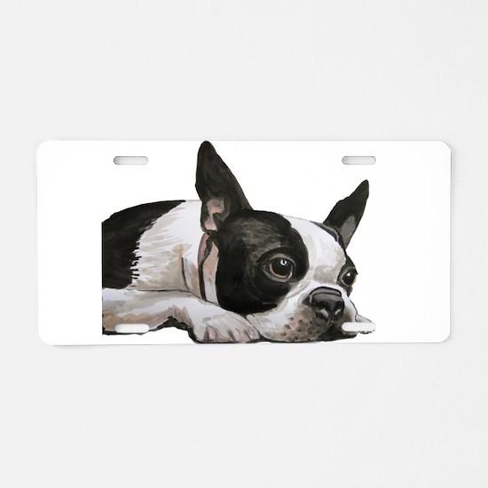 Cute Boston terrier Aluminum License Plate