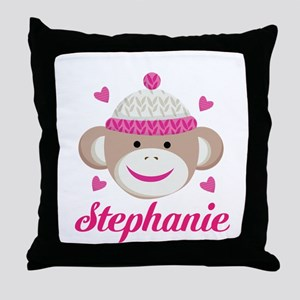 Personalized Sock Monkey Throw Pillow