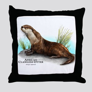 African Clawless Otter Throw Pillow