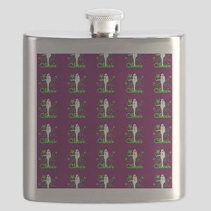 Burgundy and Green Cheerleader Flask