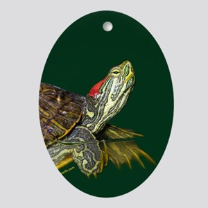 Lively Red Eared Slider Ornament (Oval)