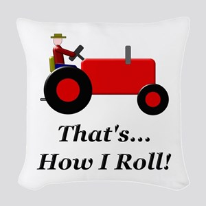 Red Tractor How I Roll Woven Throw Pillow