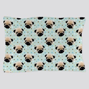 Pugs on Polka Dots Pillow Case