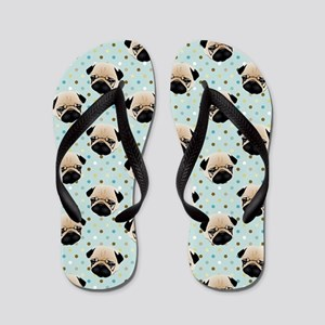 Pugs on Polka Dots Flip Flops