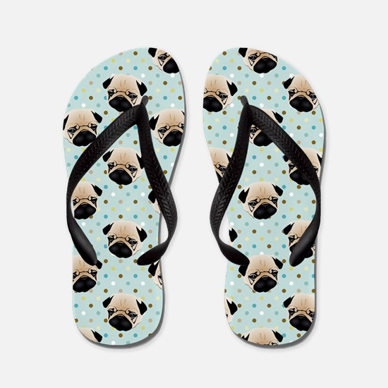 Pugs on Polka Dots.jpg Flip Flops