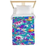 Robin's Egg Blue And Fuchsia Spin Twin Duvet C
