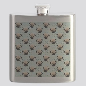 Pugs on Polka Dots Flask