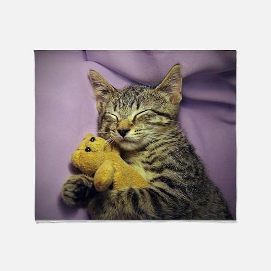 Funny Tabby cat Throw Blanket