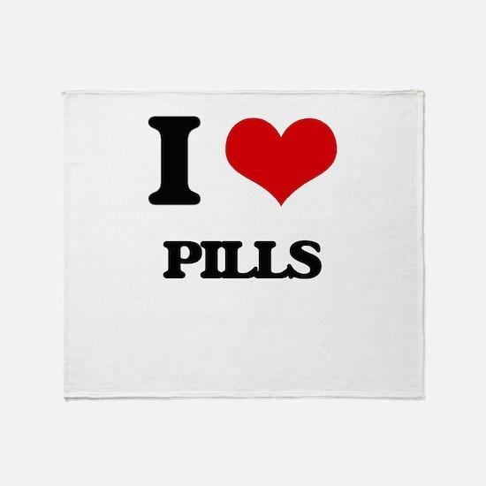 I Love Pills Throw Blanket