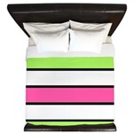 Hot Pink, Neon Green And White Stripes King Duvet