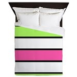Hot Pink, Neon Green And White Stripes Queen Duvet