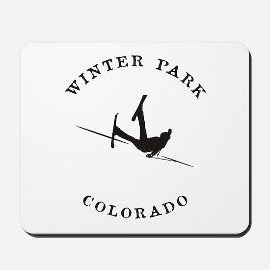 Winter Park Colorado Funny Falling Skier Mousepad