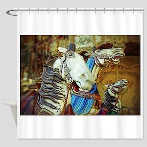 Carousel Horses Montmartre Paris, F Shower Curtain