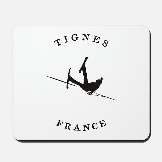 Tignes France Funny Falling Skier Mousepad