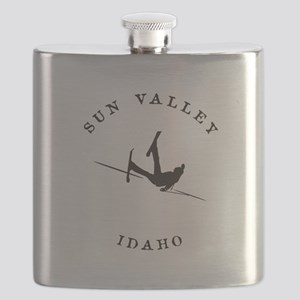 Sun Valley Idaho Funny Falling Skier Flask