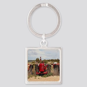 Old farm tractors machinery in cou Square Keychain