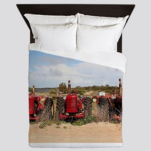 Old farm tractors machinery in country Queen Duvet