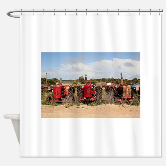 Old farm tractors machinery in coun Shower Curtain