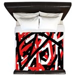 Black, red and white graffiti art King Duvet