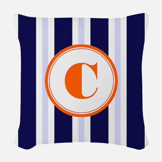 Orange C Monostripe Woven Throw Pillow