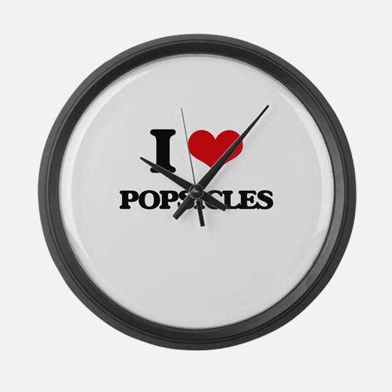 I Love Popsicles Large Wall Clock