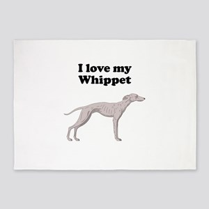 I Love My Whippet 5'x7'Area Rug