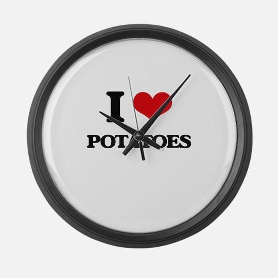 I Love Potatoes Large Wall Clock