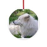 White Wolf Ornament (Round)
