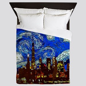 Starry Night Chicago Queen Duvet