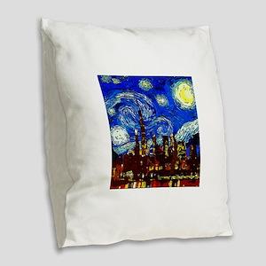 Starry Night Chicago Burlap Throw Pillow