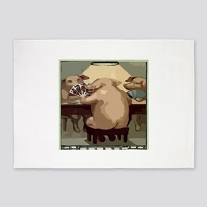 Poker Hogs 5'x7'Area Rug